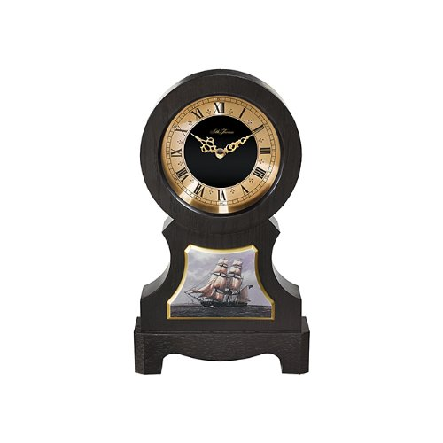 lack Finish Wood Case with Gold Tone and Black Dial Nautical Ship Base Mantel Clock ()