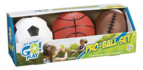(Toysmith Get Outside GO! Pro-Ball Set, Pack of 3 (5-inch soccer ball,6.5-inch football and 5-inch basketball))