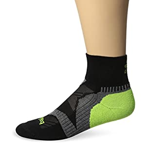 Balega Enduro V-Tech Quarter Socks For Men and Women, Black/Grey/Neon Yellow, Medium