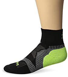 Balega Enduro V-Tech Quarter Socks, Black/Grey/Neon Yellow, Medium