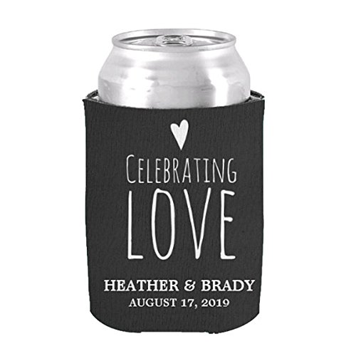 Love Wedding Can Cooler Koozie Personalized Bride And Groom Name With Date Bottle Coolies For
