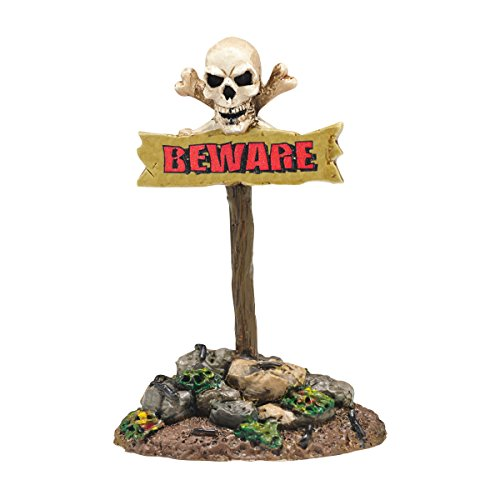 Department 56 Halloween Village Beware The Boneyard Sign Accessory, 3.54 -