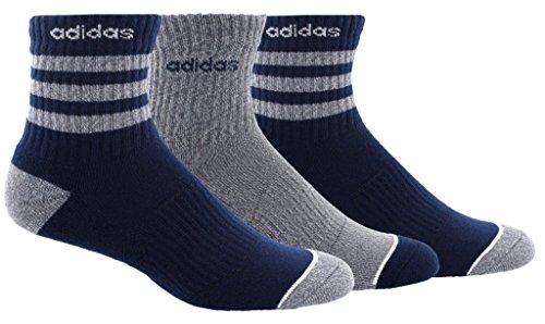 adidas Mens 3-Stripe High Quarter Socks (3-Pack), Navy/Grey, Size 6-12