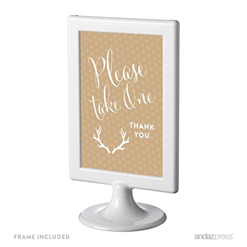 Andaz Press Birthday Framed Party Sign, Double-Sided 4x6-Inch, Please Take One Party Favors Table Signage, Tan Deer Antlers, 1-Pack, Includes Frame