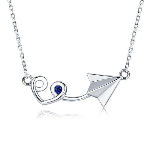 Everbling Paper Plane with Heart 925 Sterling Silver Pendant Necklace