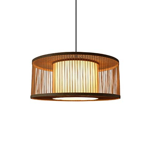 ZW_W Pendant Light Southeast Asian Bamboo Chandelier Japanese Restaurant Fixture Round Creative Ceiling Light Chinese Sheepskin Pendant Light (Lights Pendant Japanese)