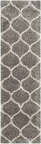 "Safavieh Hudson Shag Collection SGH280B Moroccan Ogee Plush Runner, 2' 3"" x 8', Grey/Ivory - Safavieh's Hudson Shag Ogee Trellis Rug with 2,000+ customer reviews Contemporary visually intriguing Moroccan inspired geometric pattern for a designer look in any room Luxurious and plush, the Hudson shag rug promotes an incredibly soft feeling underfoot - runner-rugs, entryway-furniture-decor, entryway-laundry-room - 41 tvrXw6%2BL -"