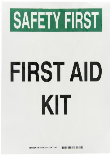"Brady 85324 Self Sticking Polyester First Aid Sign, 14"" X 10"", Legend ""First Aid Kit"""