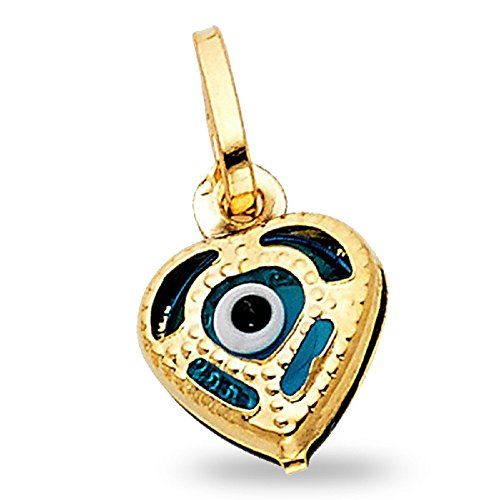 Solid 14k Yellow Gold Evil Eye Heart Pendant Greek Good Luck Heart Charm Genuine Small 10 x 10 (Good Luck Heart Charm)