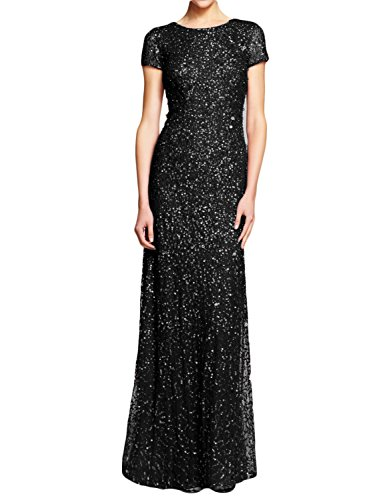 Bride Long Sequined Dress - LMBRIDAL Women's Sequin Formal Mother of The Bride Dress Long Evening Gown Black 16