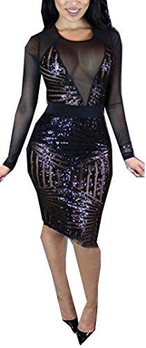 Manica Vestono Donne Bodycon Pura Sexy Lungo Partito Clubwear Black1 Di Paillettes Maglia SAIgqw