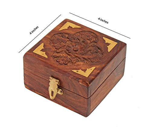 Hand Carved Fine Wood - Fine Rosewood Jewelry Trinket Box Keepsake Organizer Handcrafted with Floral Carvings, 4 x 4 inches