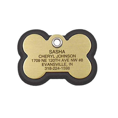 LuckyPet Pet ID Tag - Bone Frame Tag - Rugged Dog Tags with Colorful Frame - Custom Engraved Size: Medium, Color: Black & Brass
