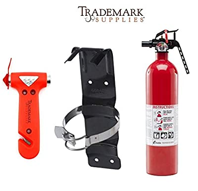 Kidde FA110 Multi Purpose Fire Extinguisher Kitchen 1A10BC,Emergency Safety Kit With Kidde Mounting Bracket, BONUS: Window Breaker Escape Model TSWB. ...