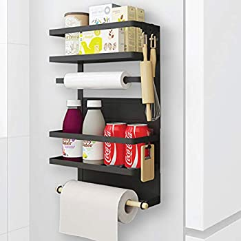 Winnprime Magnetic Fridge Spice Rack Organizer with 5 Utility Hooks, 4 Tier Magnetic Paper Towel Holder, Multi Use Kitchen Rack Shelves [Matte Black]