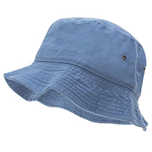 Bandana.com 100% Cotton Bucket Hat for Men, Women, Kids - Light Blue - Single Piece - Large/Extra Large Size - Summer Cap Fishing Hat -