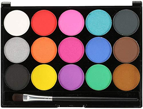 Face Body Paint, Face Painting Kits Professional, Moosmooce 15 Colors Makeup Palette-Non Toxic Hypoallergenic Safe Facepaints with 2 Brush for Adults and Kids, Ideal for Halloween Party