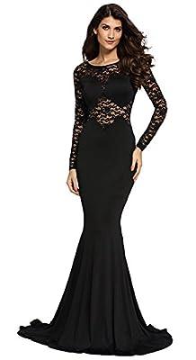 Cfanny Women's Lace Sleeves Mermaid Prom Evening Dress