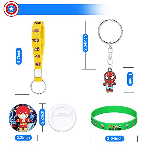 Birthday Party Favors Set, 94 Pcs Superhero Party Favors for kids, Include 4 Key Rings, 12 Bracelets, 12 Key Chains, 12 Button Pins, 54 Stickers for Kids' Party Supplies, Pinata Filler Prizes for Kids