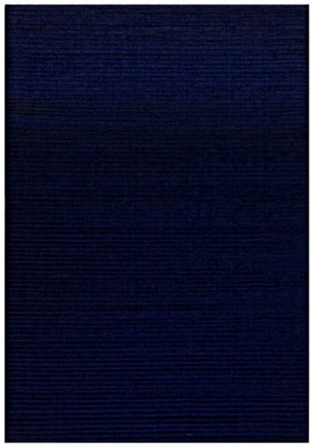 St Croix Trading Solid/Striped Rectangle Area Rug 5'x8' Blue Pulse Collection