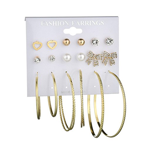 (AIUSD Fashion Earrings Ear Ring Set Combination of 9 Sets of Butterfly tie and Heart)