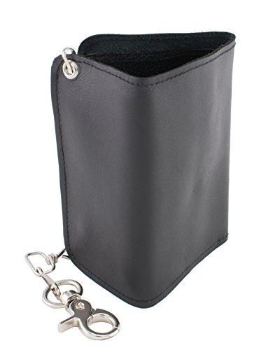 Milwaukee Leather MLW7820-PCS Black Tri-Fold Long Wallet with Steel - Wallet Milwaukee Leather