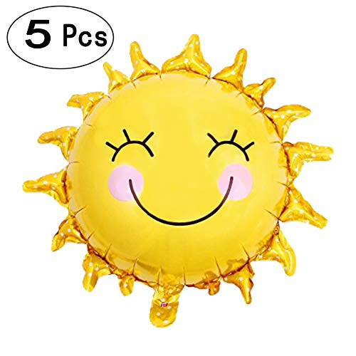 28 inch Shiny Gold Sun Smiley Face Foil Mylar Balloons Sunshine Helium Balloons Sunny Wedding Favors Summer Theme Party Decorations, 5 PC -