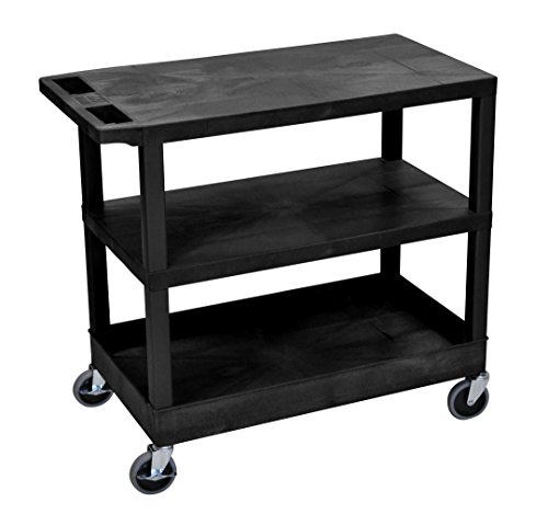 LUXOR EC221-B Cart 2 Flat/1 Tub Shelves, 18
