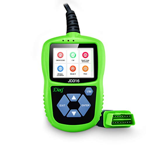 JDiag Code Reader CAN Diagnostic Scan Tool Universal OBD2 Scanner JD316 Color Screen with Mode 6 Suitable OBD II Protocol/Standard 16-pin OBD-II Interface/Battery Test (Green JD316)