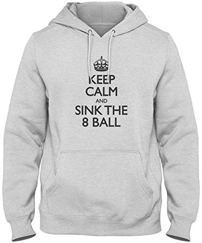shirtloco Men's Keep Calm and Sink The 8 Ball Hoodie Sweatshirt, Ash Medium
