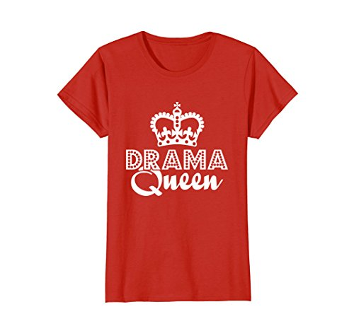Womens Drama Queen Crown Funny Sarcastic Acting T-Shirt (Dark) XL Red