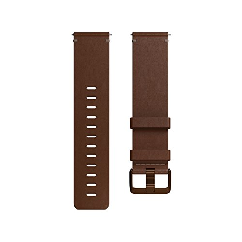 Fitbit Versa Family Accessory Band, Official Fitbit Product, Premium Horween Leather, Cognac, Small