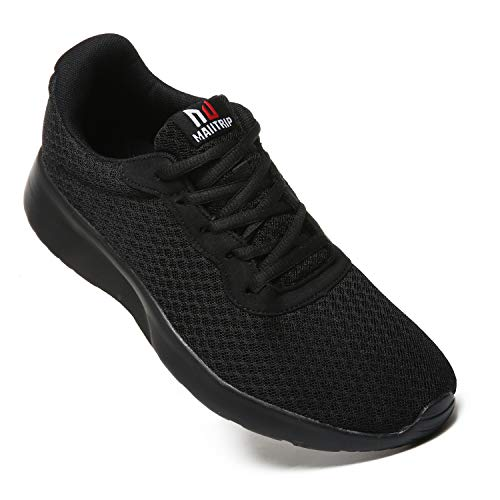 MAITRIP Mens Gym Shoes,Athletic Running Shoes,Lightweight Breathable Mesh Casual Tennis Sports Workout Walking Sneakers,All Black,Size 10.5