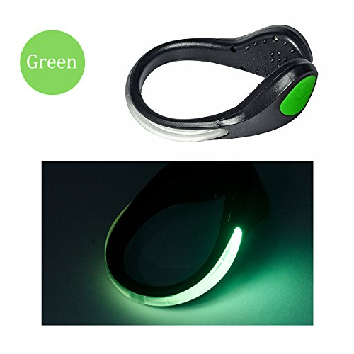 TEQIN Black Shell Green LED Flash Shoe Safety Clip Lights for Runners & Night Running Gear - Reflective Running Gear for Running, Jogging, Walking, Spinning or Biking + Velvet Bag - (Set of 2) by TEQIN (Image #10)