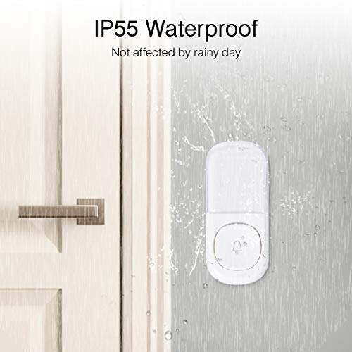 ZIGLINT Wireless Doorbell, No Batteries Required, IP55 Waterproof Door Bell Operating at over 500-feet Range, Door Chime Kit with 2 Receivers, 58 Chimes and 4 Adjustable Volume Levels, White by ZIGLINT (Image #3)