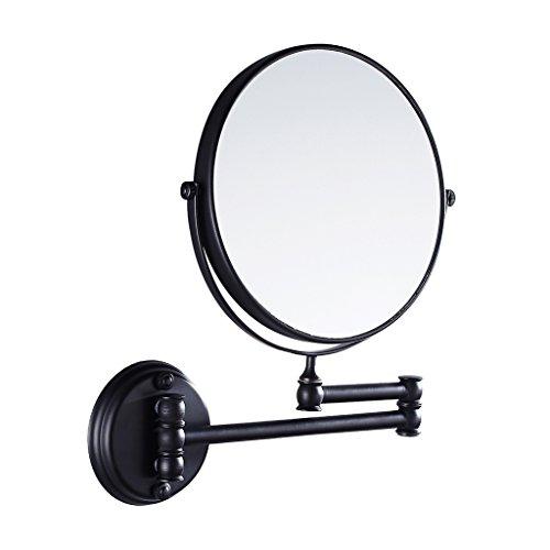 Jili Online Bathroom Wall Mounted Magnifying Dual Side Adjustable Makeup Mirror - Black, 20cm