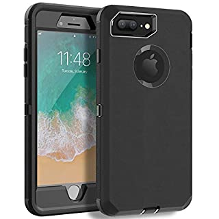 MXX iPhone 8 Plus Heavy Duty Protective Case with Screen Protector [3 Layers] Rugged Rubber Shockproof Protection Cover for Apple iPhone 7 Plus - iPhone 8 Plus/Apple Phone 8+ (Black)