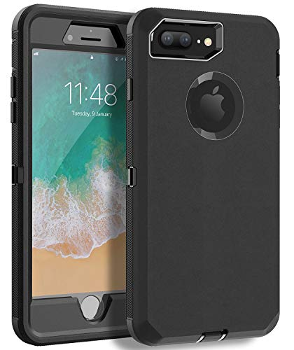 MXX iPhone 8 Plus Heavy Duty Protective Case with Screen Protector [3 Layers] Rugged Rubber Shockproof Protection Cover for Apple iPhone 7 Plus - iPhone 8 Plus/Apple Phone 8+ (Black) (Rubber Case Protector)