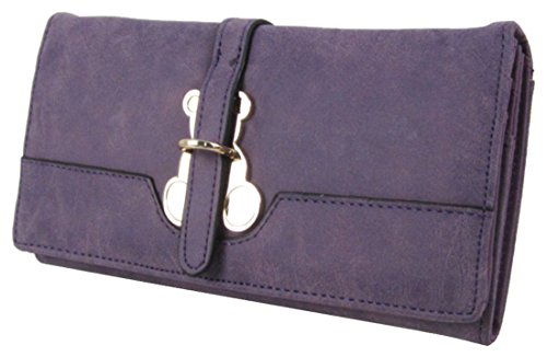 Kukubird Frontal Metal Osito Detalle Grandes Damas Monedero Cartera De Embrague Purple