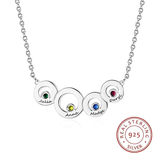 QMM necklace Pendant Family Jewelry 4 Circle Personalized Birthstone Name Necklace 925 Sterling Silver Necklaces & Pendants