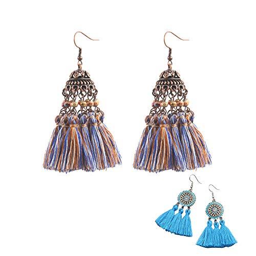 Maiheimoon Tassel Earrings Hawaiian Retro Thread Dangle for Women and Girls Set of 2 Pairs (A-Tassel Earring) ()