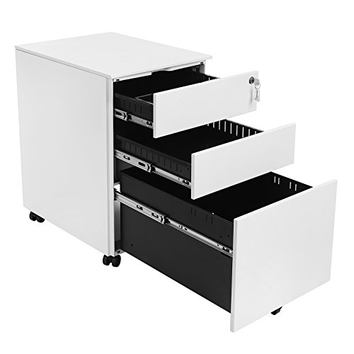 Left File Pedestal (SONGMICS Steel File Cabinet 3 Drawer with Lock Mobile Pedestal Under Desk Fully Assembled Except Casters White UOFC60WT)