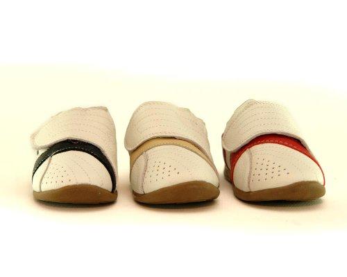 Kinder Halbschuhe - Sneaker in weiß/rot, weiß/schwarz, weiß/beige xxxx LEDER xxxx Rot