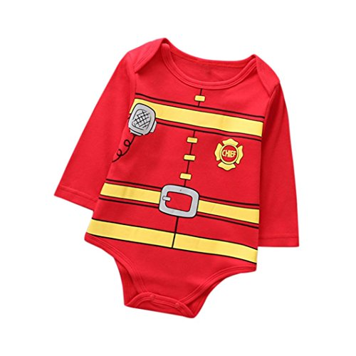 Adorable Newborn Pajamas Jumpsuit Baby Girl Boy Christmas Outfits Printed Fireman Style Romper (12M, -