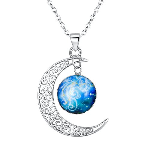 "BriLove 925 Sterling Silver Necklace for Women -""Aquarius"" Galaxy Constellation Zodiac Horoscope Astrology 12 Crescent Moon Glass Bead Pendant Necklace"