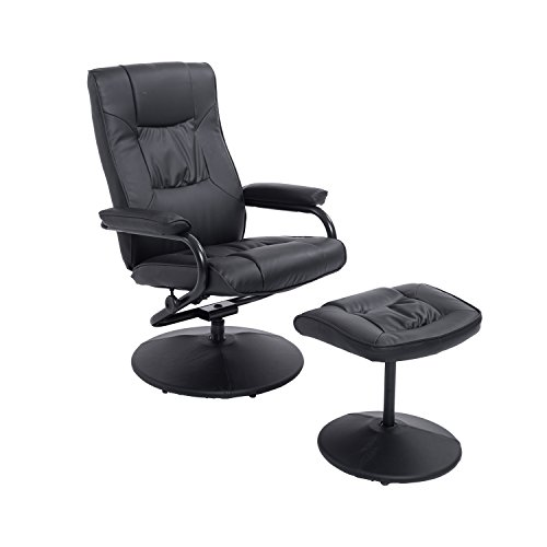 Festnight Ergonomic PU Leather Armchair Lounge Seat Recliner and Ottoman Set
