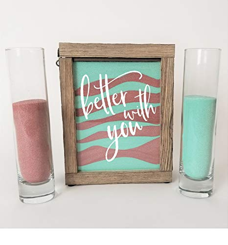 (Streamside Shoppe Rustic Unity Sand Ceremony Set Better with You in White Rustic Shadow Box for Wedding, Vow Renewal, Unity Sand Ceremony Set, Beach Wedding Decor, Unity Candle Alternative)