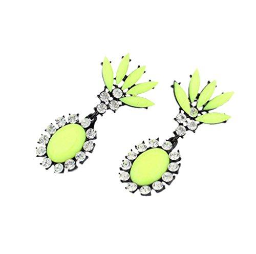 SWEETIME Women's Cute Leave Waterdrop Rhinestone Earrings (Yellow) (Daisy And Peach Halloween Costumes)