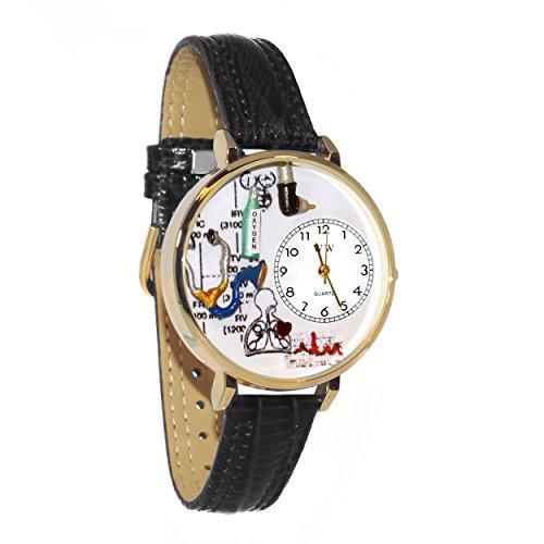 Whimsical Watches Unisex G0620028 Respiratory Therapist Black Skin Leather Watch - Therapist Unisex Watch