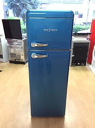 Retro Frigorífico Hielo Azul Brillo/A +/Nevera y congelador Combi ...